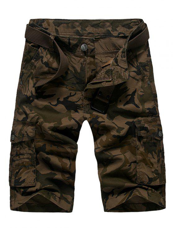 women's Zipper Fly Straight Leg Camouflage Cargo Shorts - COFFEE 32