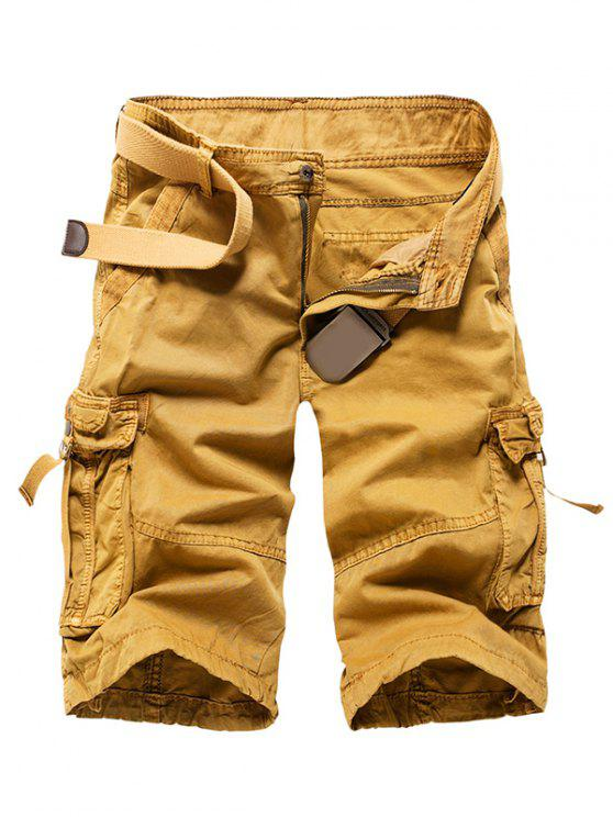 Zipper Fly Straight Leg Multi-Pocket Cargo Shorts - Kaki 36