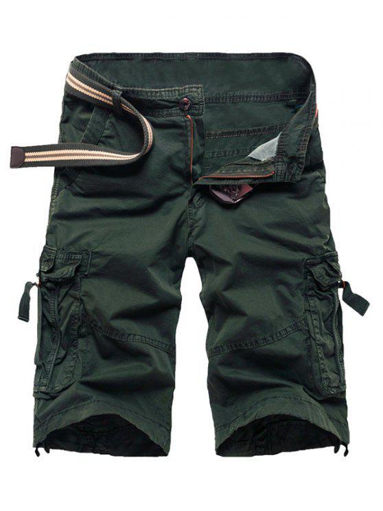 fashion Zipper Fly Straight Leg Multi-Pocket Cargo Shorts - ARMY GREEN 34