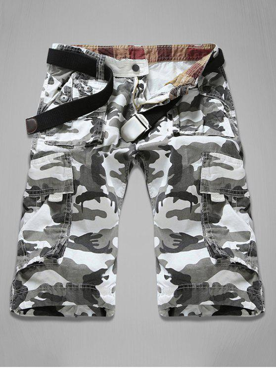 lady Zipper Fly Multi-Pocket Camouflage Cargo Shorts - WHITE 29