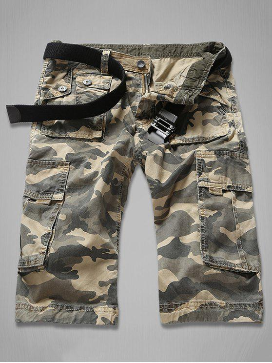 Cierre con cremallera Multi-bolsillo del cargo del camuflaje Pantalones cortos - Caqui 34