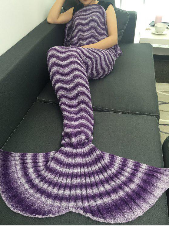 سوبر لينة الحياكة موجة الشريط حورية البحر الذيل نمط بطانية - أرجواني
