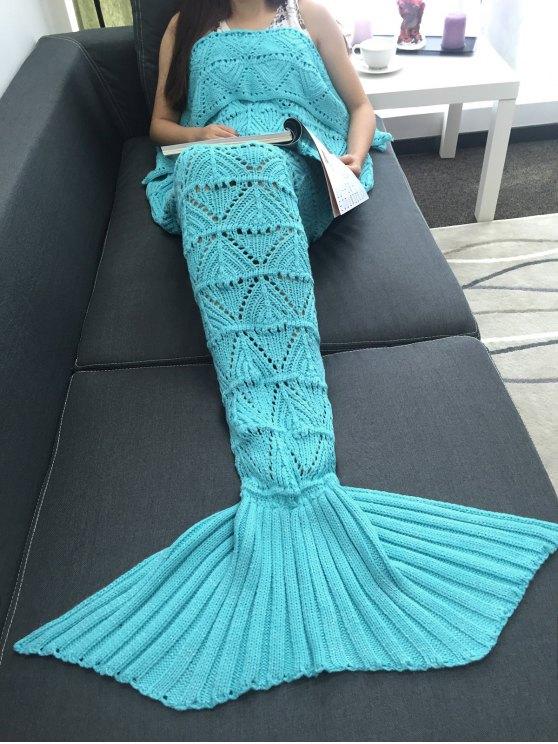 الهندسة تصميم مخرمة الكروشيه محبوك حورية البحر الذيل بطانية - الضوء الأزرق