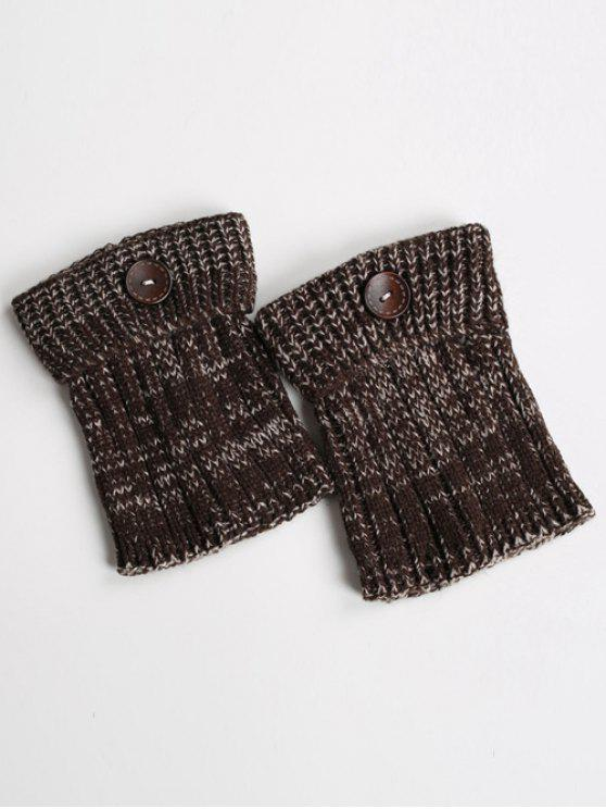 womens Buttons Yoga Knit Boot Cuffs - DARK COFFEE