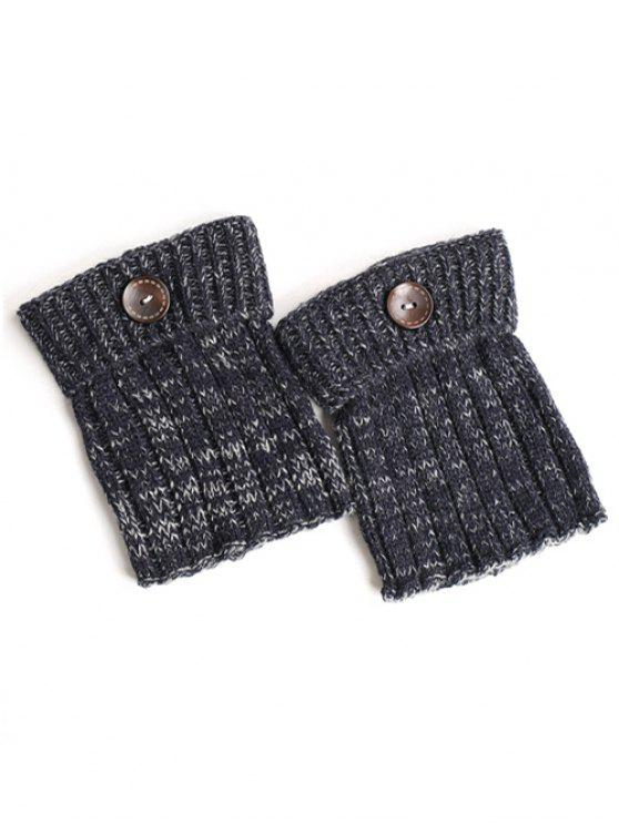 women's Buttons Yoga Knit Boot Cuffs - CADETBLUE