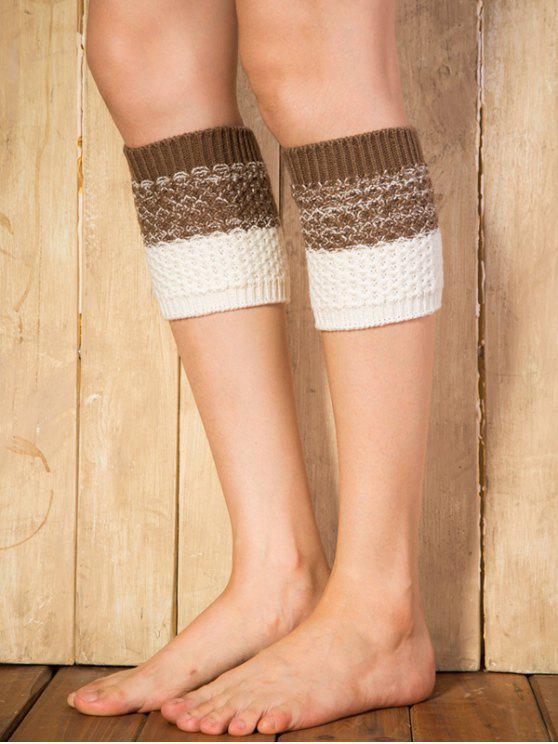 Color Block Yoga Häkelarbeitknit Stiefel Cuffs - Kafee