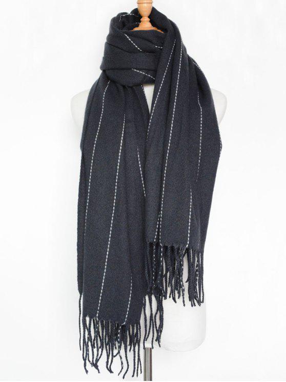 Écharpe à rayures avec franges - Bleu Violet