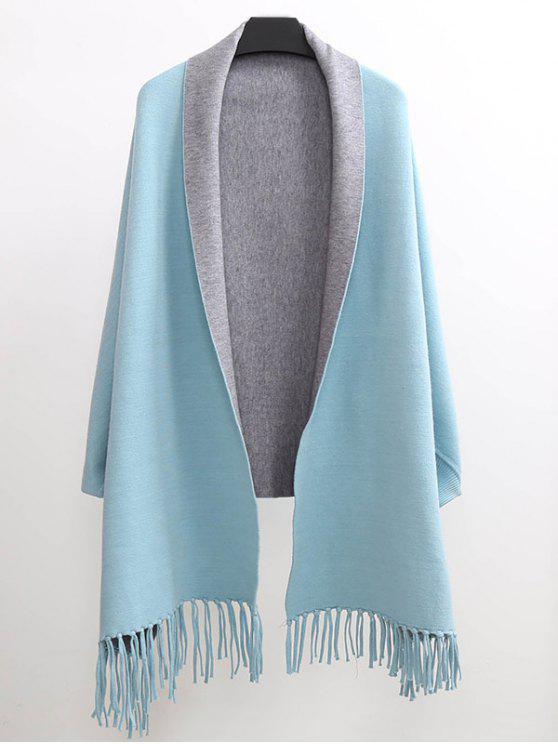 fashion Tassel Lapel Sleeved Cape Pashmina - LIGHT BLUE ONE SIZE(FIT SIZE XS TO M)