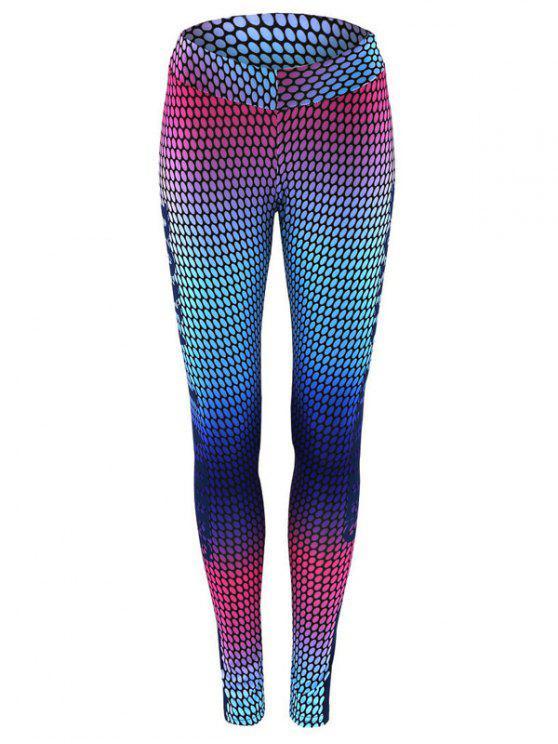 best High Waist Print Skinny Gym Leggings - COLORMIX S