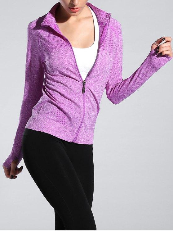 online Glove Sleeve Sports Jacket - LIGHT PURPLE M