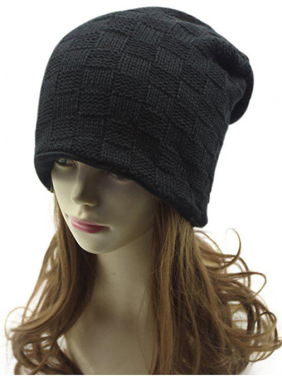 womens Plaid Weaving Double-Deck Knit Beanie - BLACK