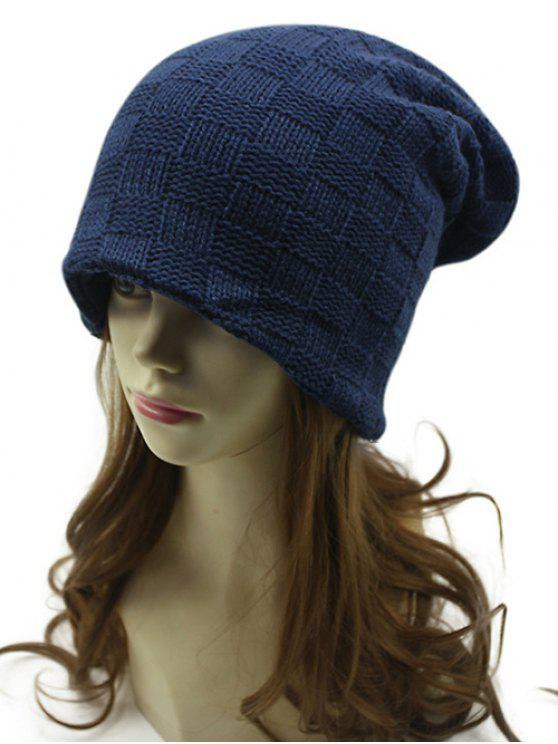 women Plaid Weaving Double-Deck Knit Beanie - CADETBLUE