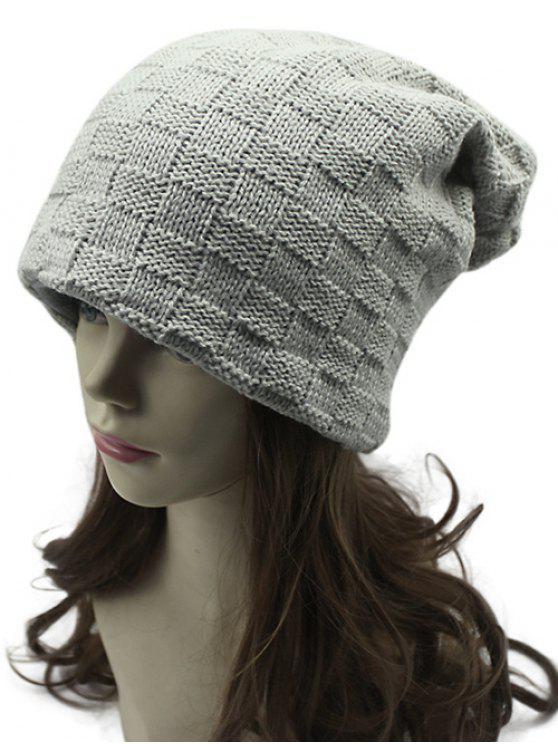 lady Plaid Weaving Double-Deck Knit Beanie - GRIEGE
