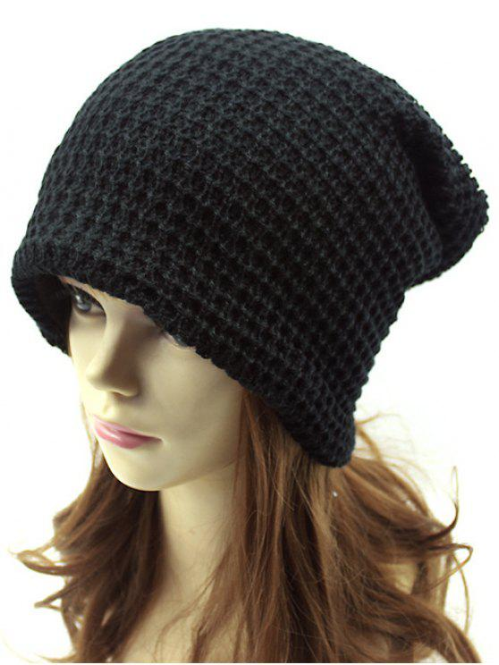 best Openwork Weaving Double-Deck Knit Beanie - BLACK