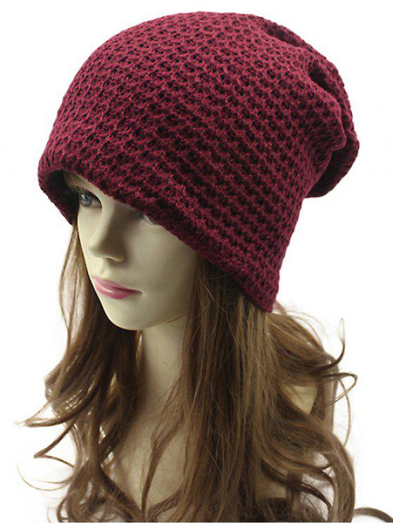 Ajouré Tissage Double-Deck Knit Beanie - Rouge vineux