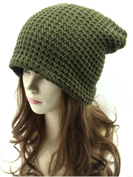 Calado Weaving doble cubierta Knit Beanie - Verde del ejército