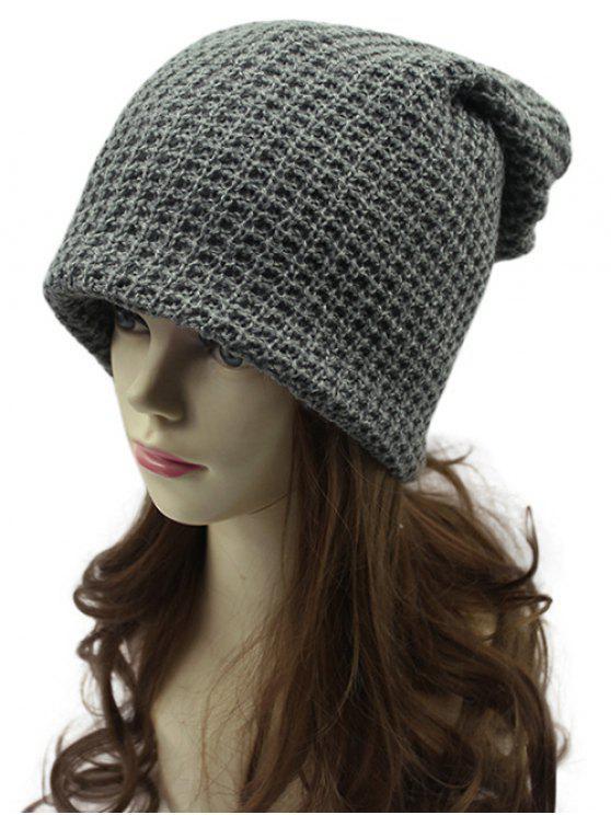 Calado Weaving doble cubierta Knit Beanie - Gris Oscuro