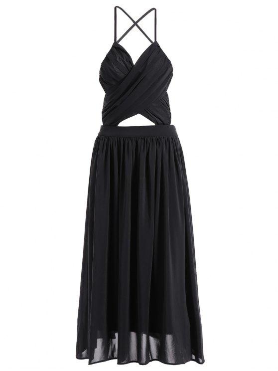 best Backless A-Line Strappy Midi Dress - BLACK L