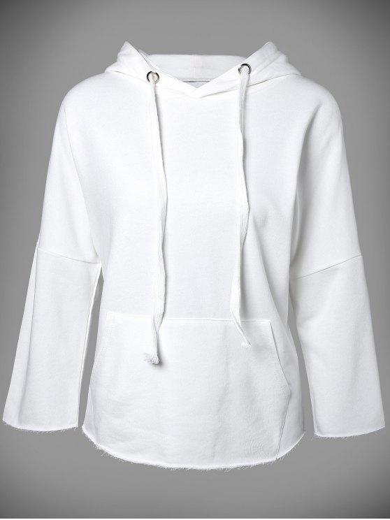 ladies Big Pocket Long Sleeve Drawstring Hoodie - WHITE M