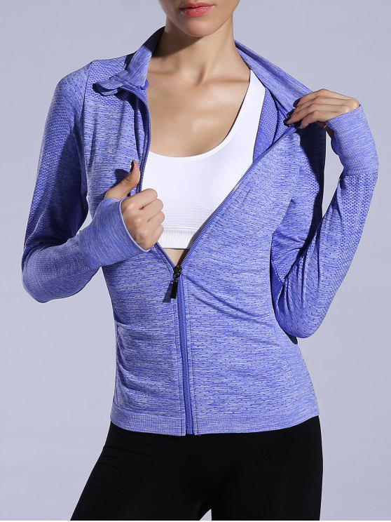 fashion Glove Sleeve Breathable Sports Jacket - BLUISH VIOLET L