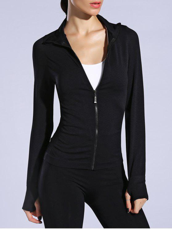 Guante transpirable chaqueta de manga Deportes - Negro L