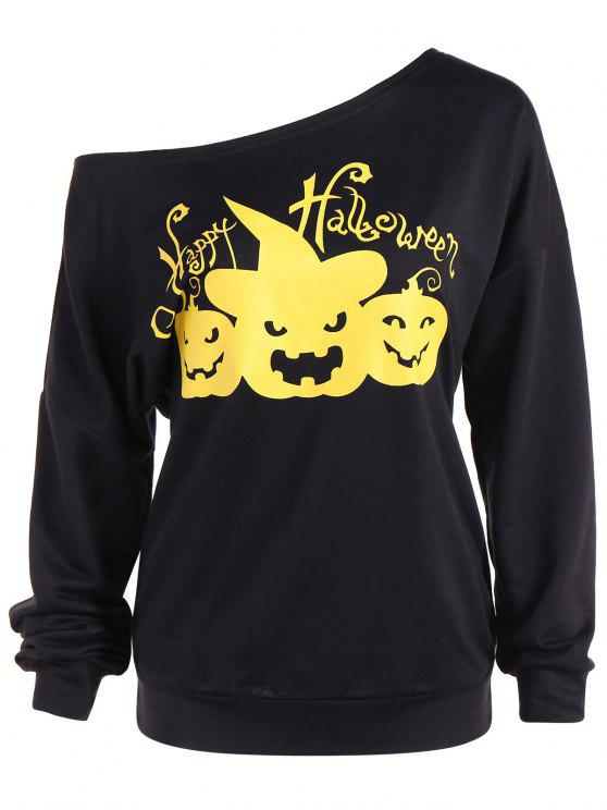 Asimmetrico Scollo Happy Halloween Felpa - Nero L