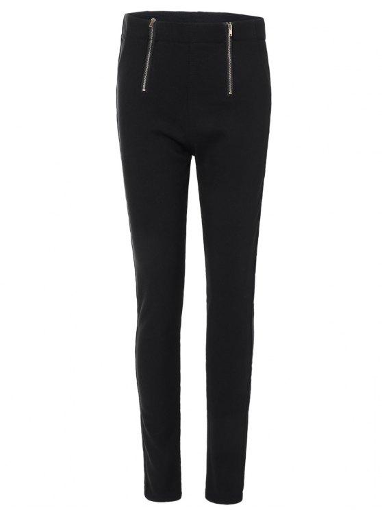 hot Zipper Embellished Pencil Pants - BLACK M