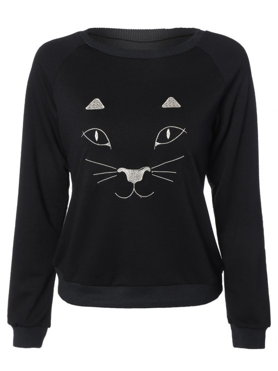 outfit Kitten Embroidered Funny Sweatshirt - BLACK 2XL