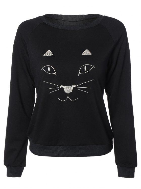 shop Kitten Embroidered Funny Sweatshirt - BLACK L