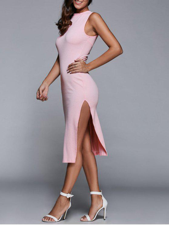fancy Side Slit Sleeveless Back Cutout Bodycon Dress - PINK M