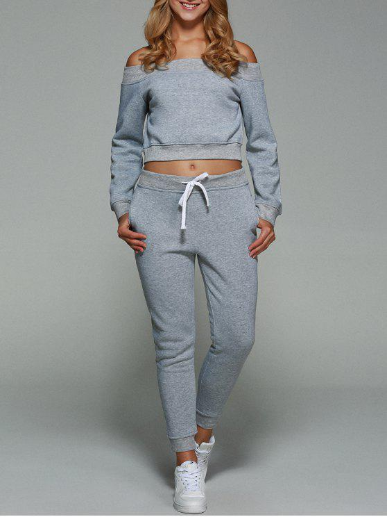 32 Off 2020 Off Shoulder Cropped Sweatshirt With Pants