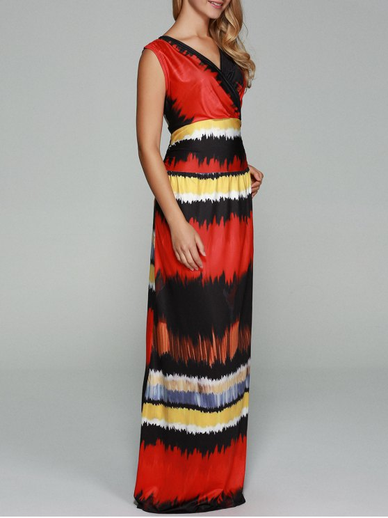 2018 V Neck Tie Dyed Tank Maxi Dress In Colormix S Zaful
