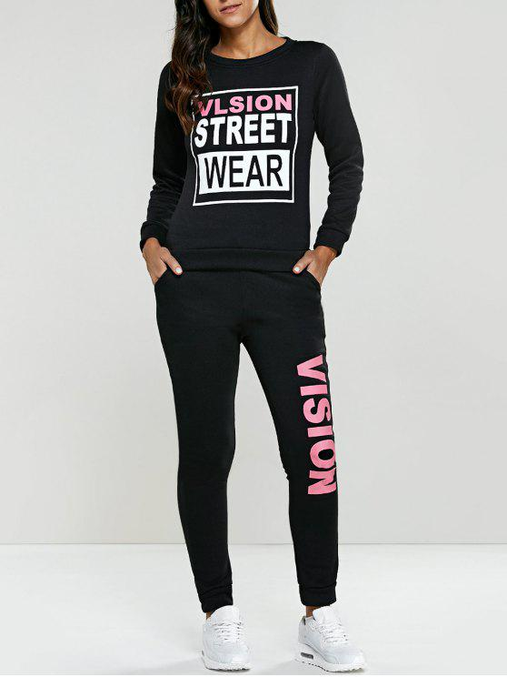 women's Letter Graphic Sweatshirt and Sweatpants - BLACK L