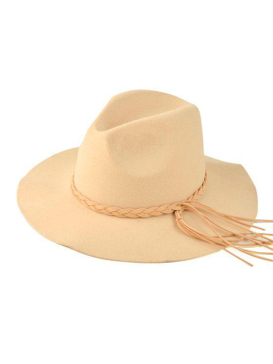 70d60460801ec 35% OFF] 2019 Floppy Braided Tassel Felt Hat In BEIGE   ZAFUL English