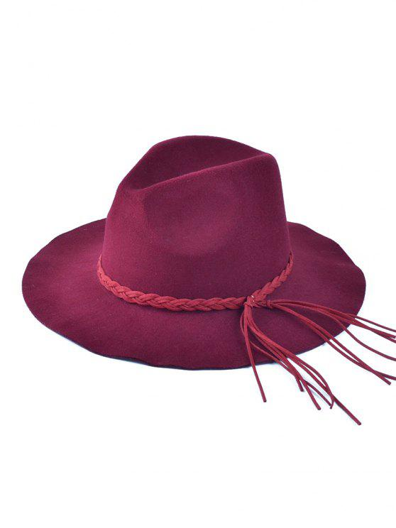 trendy Floppy Braided Tassel Felt Hat - WINE RED
