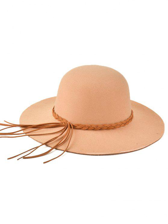 unique Braided Band Floppy Hat - BEIGE