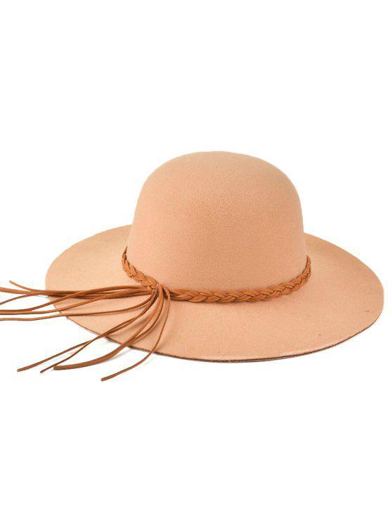unique Braided Band Floppy Hat - BEIGE
