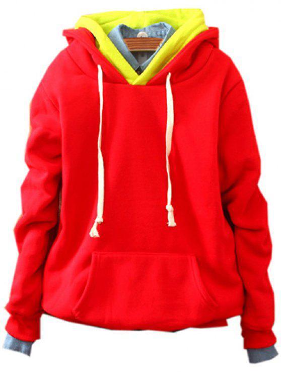 Fronttasche Fleece Hoodie - Rot Eine Größe