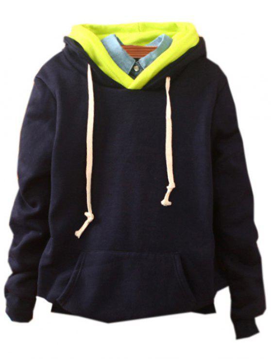 Bolso frontal de lã com capuz - Azul Arroxeado Tamanho único