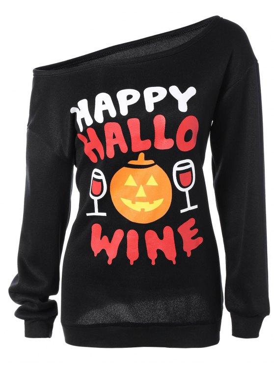 Schrägkragen-Kürbis-Druck-Halloween-Sweatshirt - Schwarz S