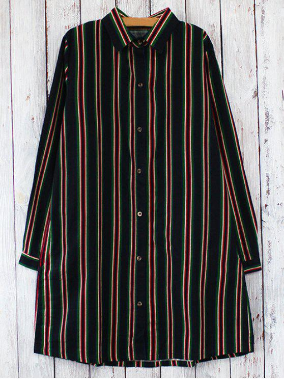 affordable Striped Long Sleeves Shirt Dress - RED WITH BLACK ONE SIZE