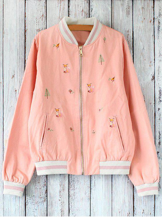 new Zipped Embroidered Baseball Jacket - PINK ONE SIZE