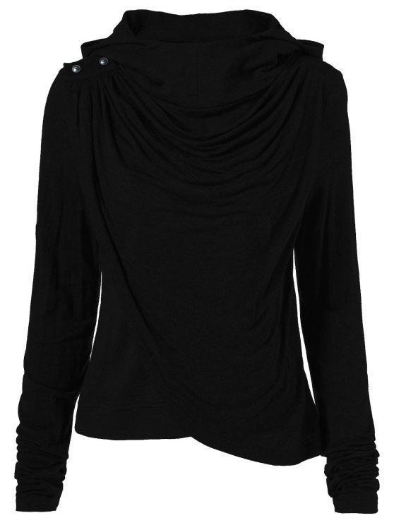 trendy Draped Hoodie - BLACK S