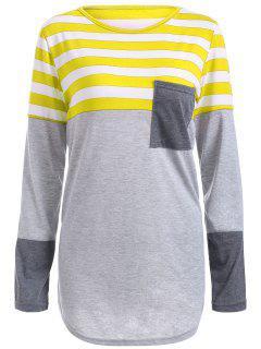 Gestreiftes Tunika T-Shirt Mit Tasche - Gelb M