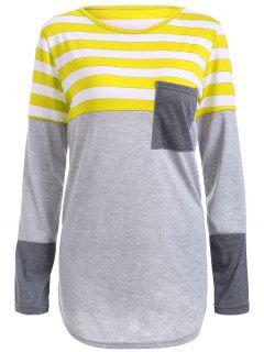 Striped Pocket Tunic T-Shirt - Yellow S