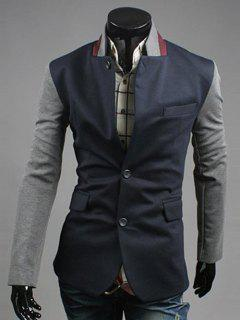 Lapel Color Block Splicing Design Single-Breasted Blazer - Deep Blue M