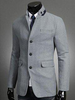 Stand Collar Button Embellished Single-Breasted Blazer - Light Gray L