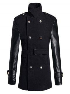 Stand Collar PU Spliced Wool Blend Trench Coat - Black 2xl