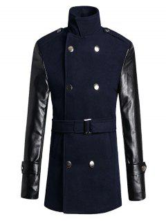 Stand Collar PU Spliced Wool Blend Trench Coat - Cadetblue L