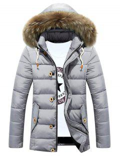 Detachable Furry Hood Zip Up Padded Coat - Silver M